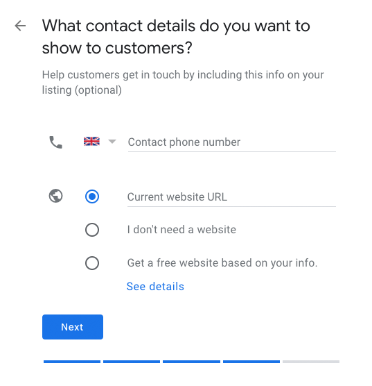 Google My Business - add contact details